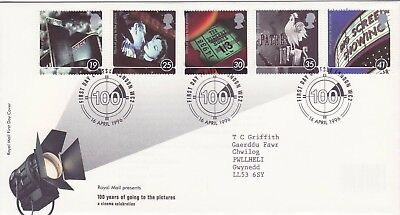 GB Stamps First Day Cover Centenary of Cinema, film, movie, lights SHS Text 1996