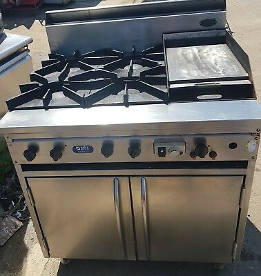 Stove-Oven-Supertron Gas 4 Burner Stove With Hotplate Includingoven Combination