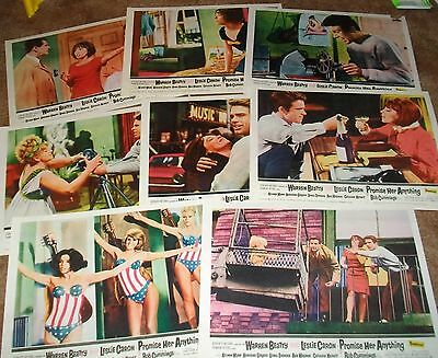 Warren Beatty Leslie Caron PROMISE HER ANYTHING ORIG US 8 LOBBY CARD SET 1966