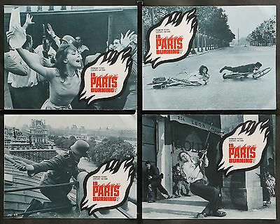 IS PARIS BURNING? 1966 Leslie Caron Alain Delon Set of 8 ORIGINAL LOBBY CARDS