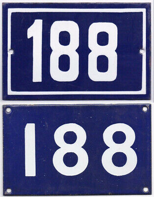 Old blue French house number 188 door gate wall fence street sign plate plaque