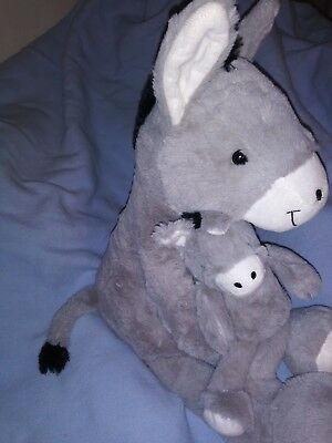 """Plush Stuffed Donkey Burro Horse Mom Dad Baby Foal 24"""" long Hands Stick Together"""