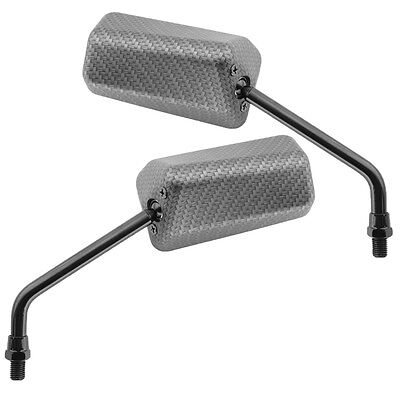 2x Carbon F1 Mirror short Threads M8 for Scooter Quad Atv Moped