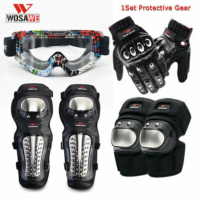 Motorbike Armor Knee Elbow Pads Motorcycle Goggles Gloves Protector Body Safety