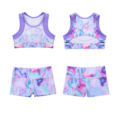Kids Girl Ballet Gymnastics Dancewear Colorful Crop Tops Booty Shorts Sportswear