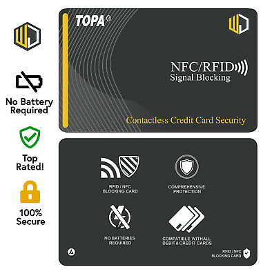 2X TOPA RFID Blocking Credit/Debit Card Protector NFC Contactless Signal Blocker