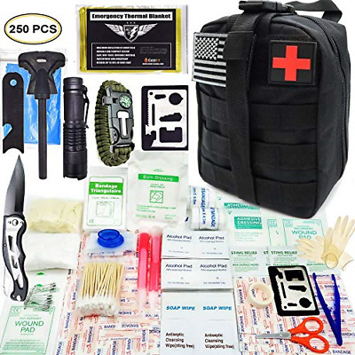 EVERLIT 250 Pieces Survival First Aid Kit IFAK Molle System Compatible Outdoor