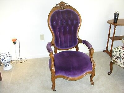 Victorian Lady's Chair, Carved, Upholstered, Antique.