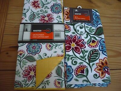 NWT Master Cuisine Dish Drying Mat Reversible & 2 Towels Floral Jacobean
