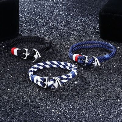 Anchor Bracelets Men Charm Nautical Survival Rope Chain Bracelet Male Wrap Metal