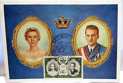1956 Postcard With Green Commemorative Postage Stamp,royalty Monoco
