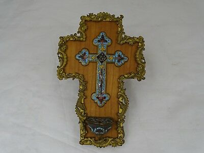Antique French Cloisonne Enamel Champleve Gilt Bronze Crucifix Holy Water Font