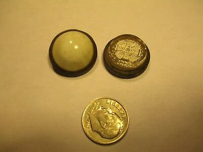 Antique Victorian Picture Nail Cover Top Sulfide Glass & White Dome Get Both
