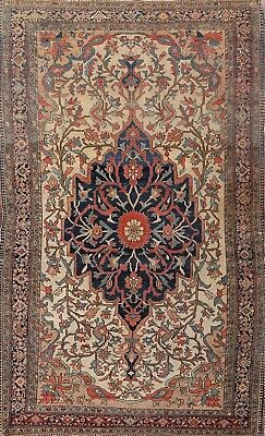 Pre-1900 Vegetable Dye Antique Sarouk Farahan Persian Hand-Knotted 4x7 Wool Rug