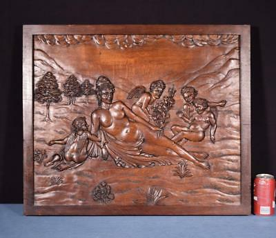*Large French Antique Deep Carved Architectural Panel Solid Oak Wood with Venus