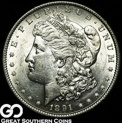 1891-S Morgan Silver Dollar Silver Coin, Lustrous Better Date