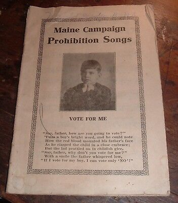 Antique Maine Campaign Prohibition Songs Women's Christian Temperance Union 1911