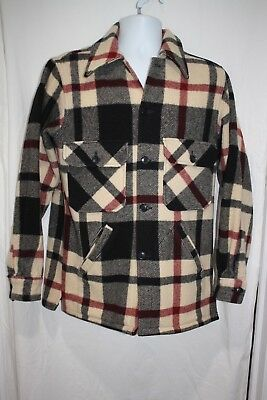 Vtg Woolrich Hunting Jacket Shirt Red Black Off White Plaid Flannel Wool Size 36