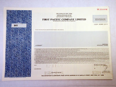 Bermuda. First Pacific Co. Ltd., 1989 Specimen ADR Cert., XF SCUSBNC