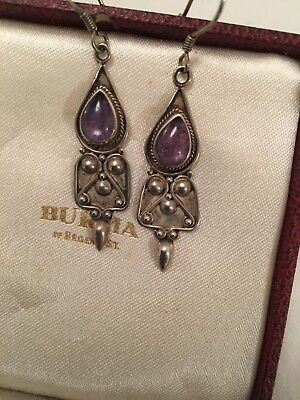 Old Lovely Pair Of Vintage Boho Amethyst Dangle Indian Silver Earrings 925