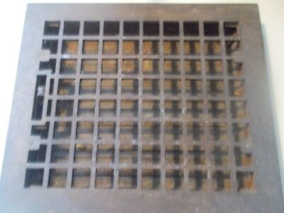 "Antique Victorian Cast Iron Floor Heating Grate Register Vent w/Louvers 12""x14 """