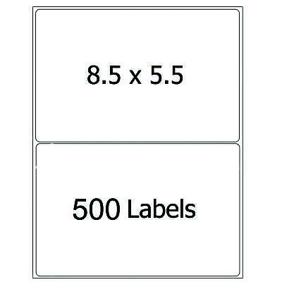 500 Half Sheet 8.5X5.5 Shipping Labels Self Adhesive Round Corner Mailing Labels