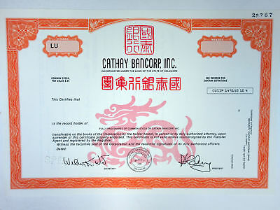 China & U.S., Cathay Bancorp, Inc 1990 Specimen Stock Cert.. Odd Shrs ABN