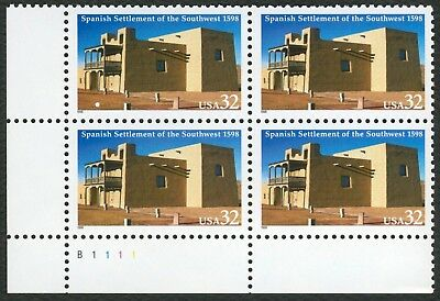 #3220 32c Spanish Settlement of SW, Plate Blk [B1111 LL], Mint **ANY 4=FREE SHIP