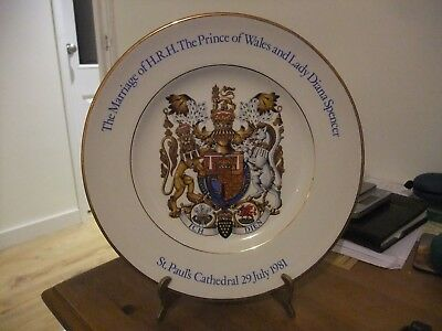 Superb Commemorative Plate Wedding Of Prince Charles To Lady Diana 29 July 1981