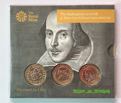 2016 SHAKESPEARE Brilliant Uncirculated £2 Two Pound Coin Three Pack Mint Sealed
