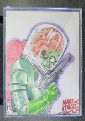 Mars Attacks Occupation Topps  **HAND DRAWN SKETCH CARD IN CASE   E. VAN 1/1