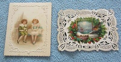 Antique 1901 Invitation To A Little Party Chelsea, MA & Christmas Seal w/ Robin