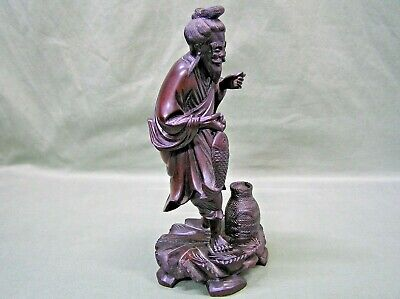 "Antique 1900s Chinese Hand Carved Rosewood Statue 9."" Man With Fish Asian Art"