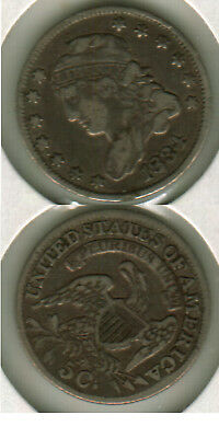 1834 3/inverted 3 CAPPED BUST HALF DIME