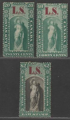 Canada Ontario 1864 QV Revenue Law Society Overprint 20c, 40c, $2 Mint