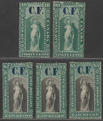 Canada Ontario 1864 QV Revenue Consolidated Fund Overprint Selection to $5 Mint