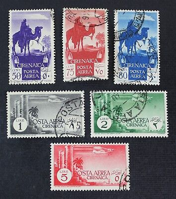 CKStamps: Italy Cyrenaica Stamps Collection Scott#C6-C11 Used, #C7 1 Thin