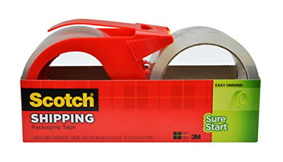 Scotch Sure Start Shipping Packaging Tape, 1.88 x 38.2 Yards, 2 Rolls and 1