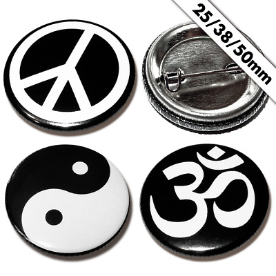 Peace / Yin Yang / Om Buttons 25mm, Button Pin Badge Anstecker Frieden Feng Shui