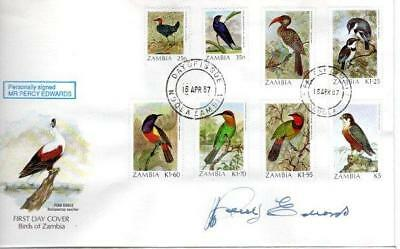 Zambia Birds Fdc 16-4-87 Signed Percy Edwards F1