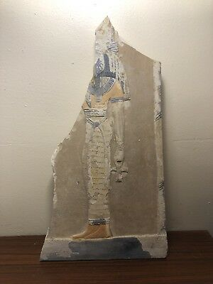 RARE Ancient Egyptian Stone Tablet Panel Of God Holding Ankh