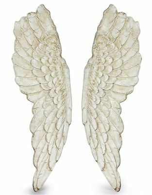Extra Large Pair of Antique White Angel Wings Art Figure Wall Mount