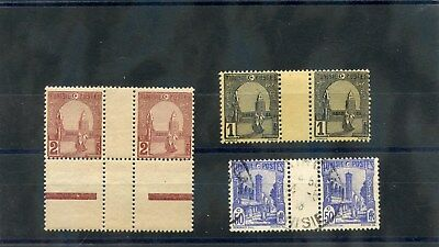 TUNISIA Sc 29,30,88(YT 29-30,181)**/*/o 1906-1934 3 DIFFERENT GUTTER PAIRS ---