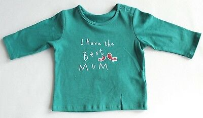 New & Tagged M&S Baby Long Sleeved TOP 'Best Mum' Motto Age 0-3 Months