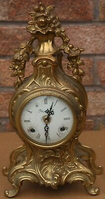 Good Looking Working Fancy Brass Cased Franz Hermle Mantel Clock To Repair