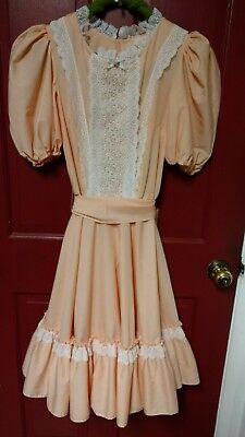 SQUARE DANCE 1pc Dress Malco Modes soft peach size 12