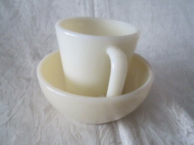 Cream Ivory Fire King D Handle Mug Cup Flat Bottom & Cereal & Chili  Bowl