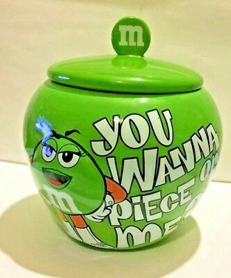 M&M'S Ms GREEN CERAMIC CANDY JAR WITH LID