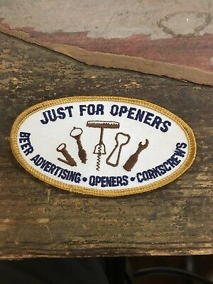 Vintage Just For Openers Beer Advertising Corkscrews Club Twill Cotton Patch