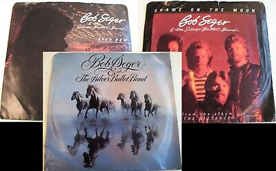 Lot Of 3 BOB SEGER SILVER BULLET BAND Picture Sleeve 45 RPM NM Vinyl